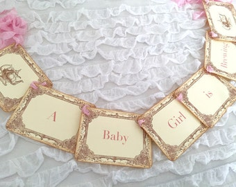 Baby Shower Tea Party Banner A Baby Girl is Brewing Decoration Decor