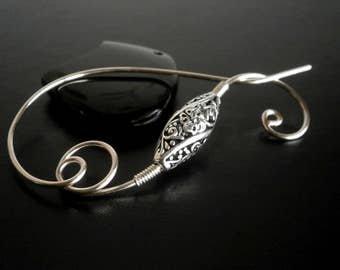 Shawl Pin, Scarf Pin, Sweater Brooch, Knitting Accessories, Silver Wire pin