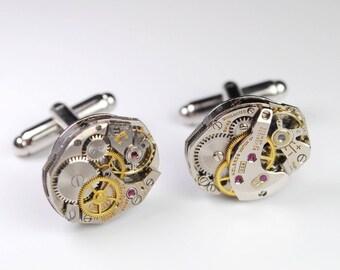 Steampunk Cufflinks Vintage Swiss Watch Movement Mens Gear Cuff Links by Steampunk Vintage Design