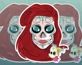 Ariel and Flounder Sugar Skull 3x4 Vinyl Sticker