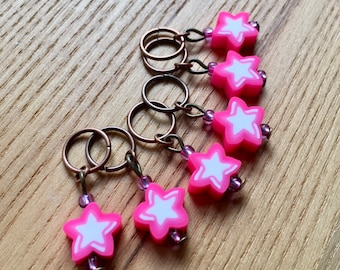 Knitting Stitch Markers Set, Snag Free Stitch Markers, Polymer Clay Stitch Markers, Pink Star Stitch Markers, Knitting Tools, Gift Knitters