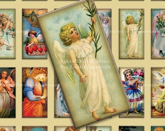 Victorian Angels and Cherubs - 1x2 inch Domino Tile Images - Digital Collage Sheet  Instant Download and Print