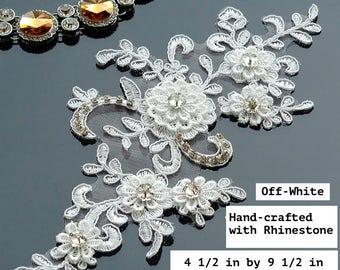 Off-White Lace Applique/Alencon Lace Applique/Lace Wedding Dress/Boho Wedding Dress/Bridal Applique/Beaded Applique/Prom Dress/ALA-12