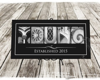 Alphabet Photography Custom Name Frame Unframed Print in Black and White Architectural Letters Photo 10x20 Unframed