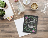 Boxed Set of 8 Floral Thank You with Color Cards - Thank You - Chalkboard Art - Blackboard Card - Hand Lettering- Chalk Art
