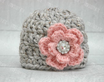 Newborn baby girl hat baby girl photo prop flower beanie grey and pink chunky soft infant girl photography prop crochet knit baby hat