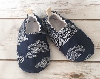 Baby boy booties, navy nimbus cloud shoes, cloth shoes, boy shoes, crib shoes, nimbus clouds, cloud booties, toddler shoes, skyscape tula
