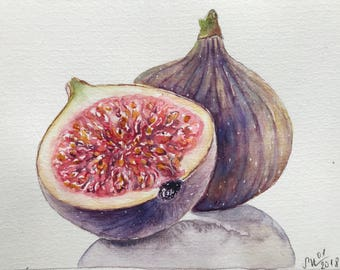 Watercolor painting of figs,kitchen art,fruit painting,watercolor art,still life watercolor painting