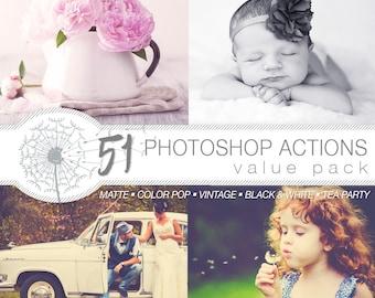 51 Photoshop Actions | Instant Download | Matte | Color Pop | Black & White | Tea Party | Vintage