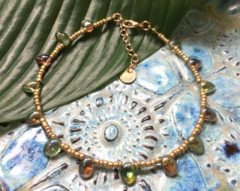 Indian summer anklet - Copper / rosé gold seed beaded anklet with green and orange drop beads