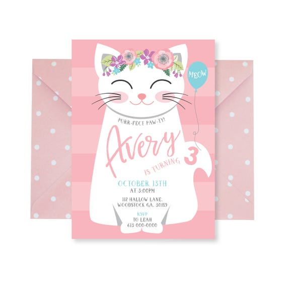 Cat birthday party invitation kitten cat birthday girl like this item filmwisefo Image collections