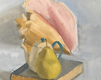 Conch Shell, Teapot and Pear