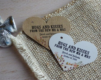 Hugs and Kisses Tag, Hugs and Kisses from Mr and Mrs. Wedding Favor Tag, Personalized Tags. Thank You tags. Set of 25 to 300 pieces
