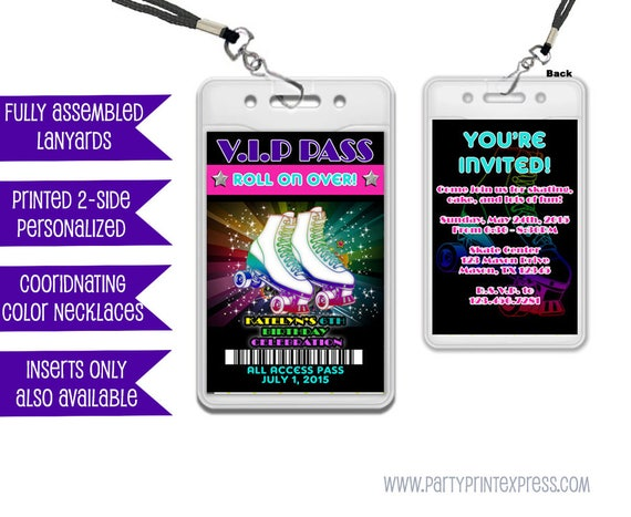 Vip pass roller skating invitations roller skating birthday vip pass roller skating invitations roller skating birthday invitation 80s skate party vip lanyard invitation party favor passes filmwisefo Images