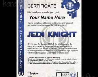 JEDI KNIGHT Star Wars Certificate High Quality - REAL Hologram And Coded Writing - Customisable With Name, Date And Authorised Signature
