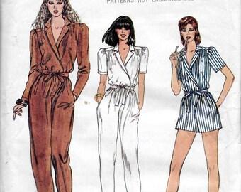 Vogue 8216 Misses 70s Front Wrap Jumpsuit Sewing Pattern Size 12 Bust 34