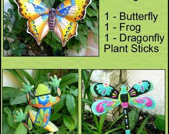 Garden Plant Markers, 3 Painted Metal Plant Stakes, Garden Decor, Metal Art, Garden Stakes, Yard Art, Garden Art, Garden Gift, PS-Pkg - 2