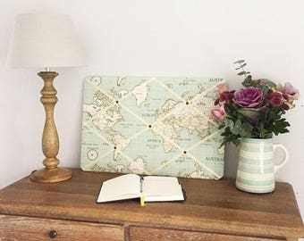 World Map Duck Egg Blue Pinboard
