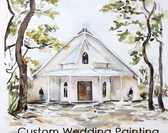 Custom Wedding Church Illustration, Custom Watercolor Painting, Personalized Wedding Gift, Wedding Illustration, Custom Illustration