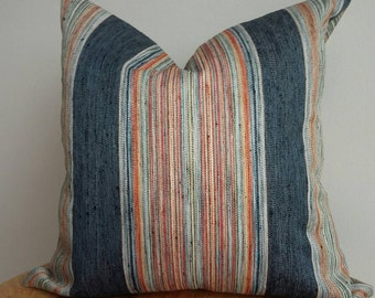 Woven Indigo pillow cover fabric vertical stripe boho orange rust red olive green modern  southwest