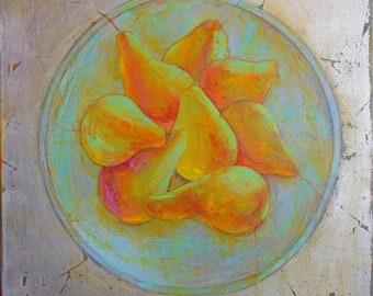 Handmade Oil Painting Canvas Art Original Gift Wall Art Textured art for Livingroom Golden leafs Wedding gift