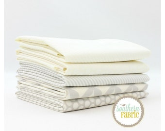 "Basics - Low Volume - Fat Quarter Bundle - 5 - 18""x21"" Cuts - Bonnie and Camille - Moda Quilt Fabric"