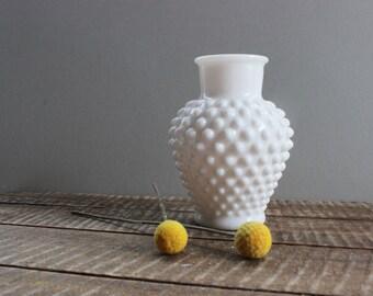 Hobnail Milk Glass Vase with Lid