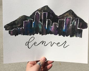 Denver Skyline and Mountains Galaxy