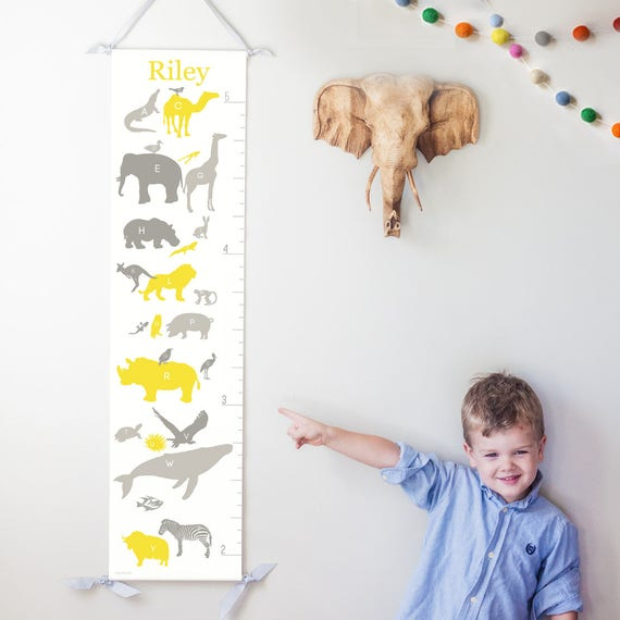 Alphabet Animals canvas growth chart in yellow & gray