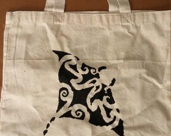 Moana Hand-Painted Manta Ray Tote w/optional custom lettering