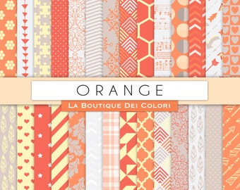 Orange and Gray Digital Paper. Digital yellow grey paper, wedding digital paper patterns, Instant Download for Commercial Use