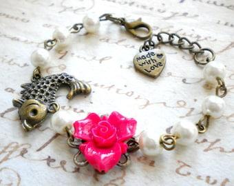 Gift For Kid Flower Girl Gift Fuschia Bracelet Children Wedding Jewelry Goldfish Bracelet Ocean Jewelry Flower Girl Bracelet Baby Girl Gift