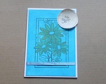 Orange Flower Greeting Card, Blank Card, Handmade Card, Mother's Day Card, Birthday Card