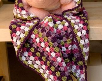 Crochet Pattern--Granny Square Baby Blanket