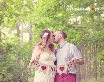 Engagement Burlap Banner, Save The Date Banner, Wedding Photo Prop, Engagement Photo Prop, B041