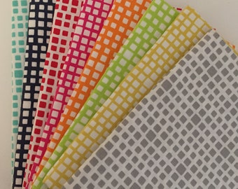 Art Gallery Fabric Carnaby Street Squared Elements 8 Fat Quarters