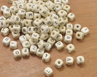 Wood Alphabet Letter Beads,200pcs Wood Cube beads,Square ABC beads, Kids Craft Beads,Jewelry Supply-10mm