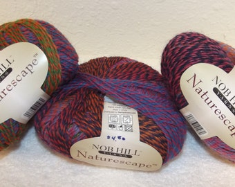 Rainbow Naturescape by Nob Hill, Nob Hill Naturescape Yarn, Rainbow Wool Yarn, Purple Posy Yarn, Variegated Naturescape Yarn