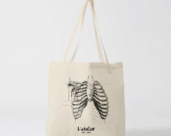 X181Y Tote bag man skeleton, bag canvas, cotton bag, diaper bag, purse, tote bag, shopping bag, bag Court