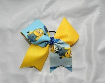 Minion Piggy Tail Cheer Bow Hair Bow