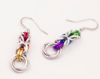 Rainbow LGBT Gay Pride Chainmail Earrings