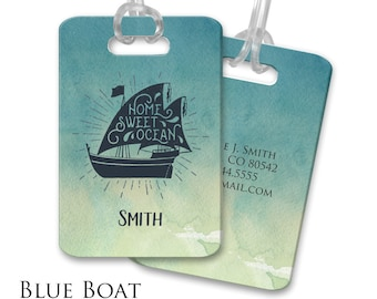 Personalized Luggage Tags Sailboat Luggage Tag Customized Travel Tags Custom Bag Tags Suitcase Tags Custom Luggage Tags Blue Cruise Sailing