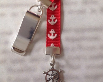 Ships Wheel Bookmark / Anchor Bookmark / Boating Bookmark - Clip to book cover then mark page with the ribbon. Never lose your bookmark!