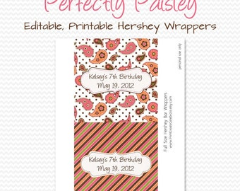 Paisley Party Favor, Candy Wrapper, Candy Bar Label, Chocolate Bar Label, Summer Birthday Party, Bridal Shower  - Editable, Printable