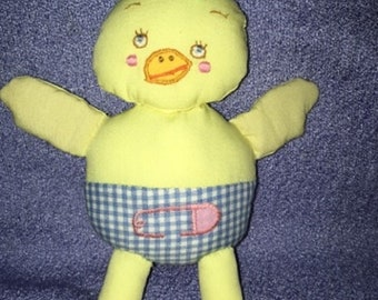 Vintage Chick plush Yellow Duck From Baby Crib Mobile loose now you can hold one Duck embroidered Gingham diaper bow