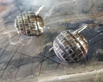 Woven Fine Silver Earrings Oxidized