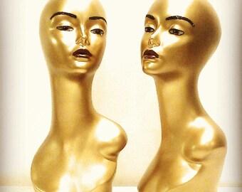 Gold Female Mannequin Head