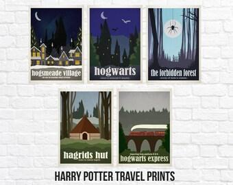 Harry Potter Travel Poster Art Print Sets - Hogwarts - Forbidden Forest - Hogwarts Express - Hagrids Hut - Hogsmeade