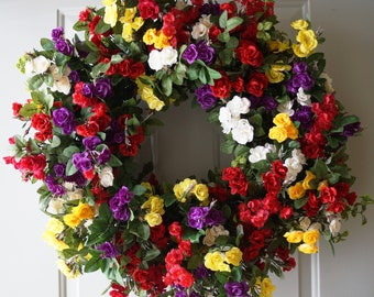 Large Wreath, Roses Wreath, Red Yellow Purple White Roses Front Door Wreath 28in