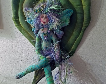 ON SALE: OOAK, fiber sculpted fairy on silk, handdyed leaf, silk face, Swarovski crystal accents, wall accent